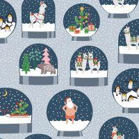 Fa La La Llamas Snowglobes Arctic Snowglobe Christmas Festive Holiday Dear Stella Cotton Fabric