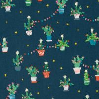 Fa La La Llamas Holiday Cacti Orion Cactus Christmas Festive Holiday Dear Stella Cotton Fabric