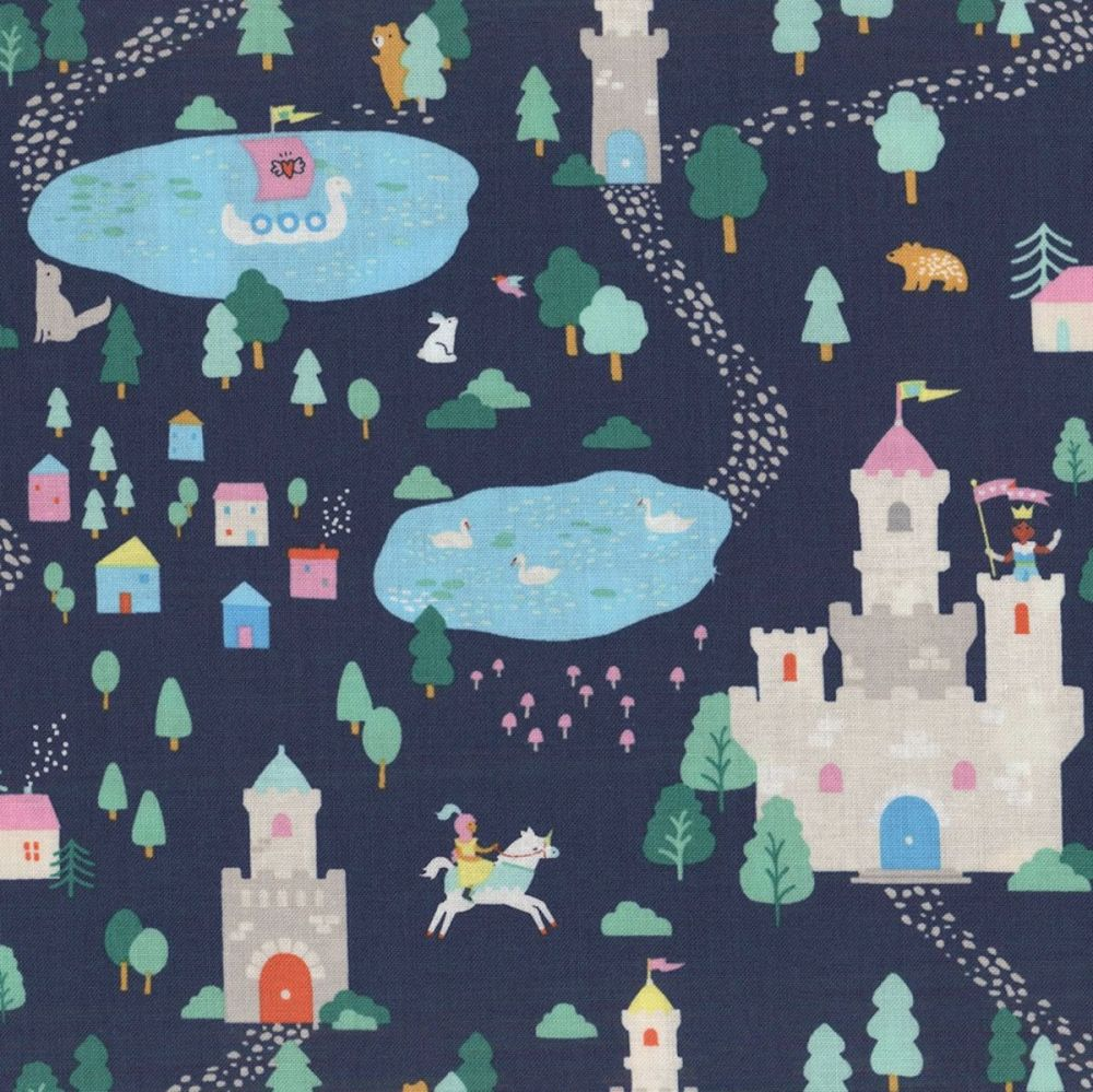 Save Yourself Navy Princess Castle Horse Crown Fairytale Cotton Fabric