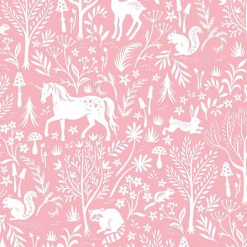 Save Yourself Forest Frolic Melba Woodland Unicorn Raccoon Deer Rabbit Pink Dear Stella Cotton Fabric