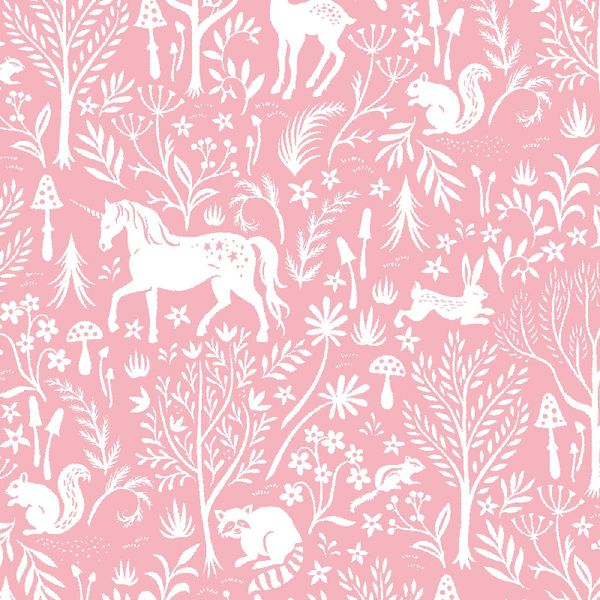 Save Yourself Forest Frolic Melba Woodland Unicorn Raccoon Deer Rabbit Pink
