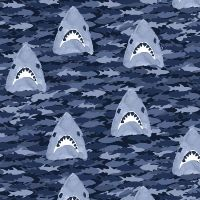 Bite Me Out of the Blue Multi Sharks Starlight Waves Ocean Shark Dear Stella Cotton Fabric