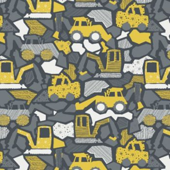 Nailed It Demo Time Digger Diggers Construction Building Nursery Dear Stella Cotton Fabric