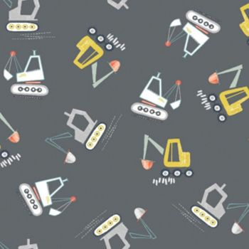 Nailed It Dig It Gunmetal Digger Diggers Construction Building Nursery Dear Stella Cotton Fabric