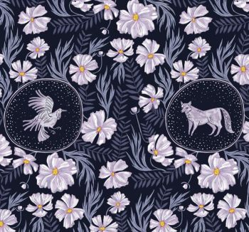 Ghostwood Forest Vignette Astral Rabbit Deer Fox Framed Animal Scenic Floral Dear Stella Cotton Fabric