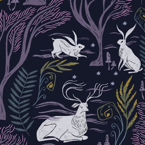Ghostwood Astral Rabbit Deer Fox Trees Animal Scenic Floral Dear Stella Cot