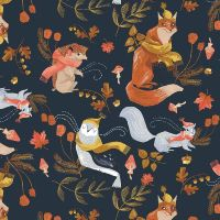 Hygge Getting Hygge With It Astral Winter Hedgehog Owl Fox Trees Animal Scenic Autumn Leaves Dear Stella Cotton Fabric