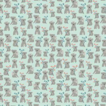 Joey Koalas Mint Koala Bear Australia Marsupial Cotton Fabric