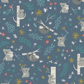 Joey Main Blue Koalas Sloth Koala Bear Sloths Botanical Leaves Australia Marsupial Cotton Fabric