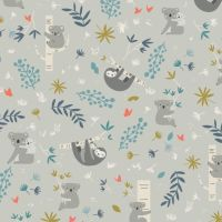 Joey Main Gray Koalas Sloth Koala Bear Sloths Grey Botanical Leaves Australia Marsupial Cotton Fabric