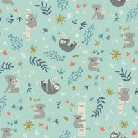 Joey Main Mint Koalas Sloth Koala Bear Sloths Botanical Leaves Australia Marsupial Cotton Fabric