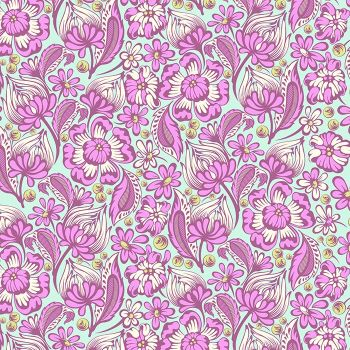 RARE Tula Pink Chipper Wild Vines Floral Raspberry Cotton Fabric
