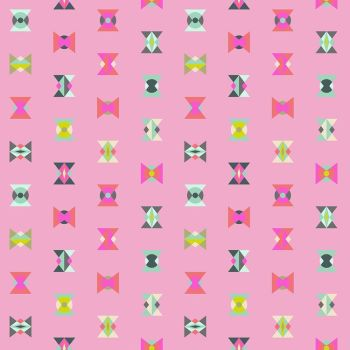 Tula Pink Spirit Animal Arrowhead Geometric Triangles Starlight Pink Cotton Fabric