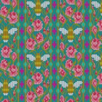 Handiwork Bead Work Peacock Alison Glass Pixels Bee Rose Floral Cotton Fabric