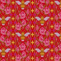 Handiwork Bead Work Scarlet Alison Glass Pixels Bee Rose Floral Cotton Fabric