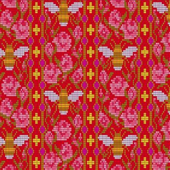 Handiwork Bead Work Scarlet Alison Glass Pixels Bee Rose Floral Cotton Fabric