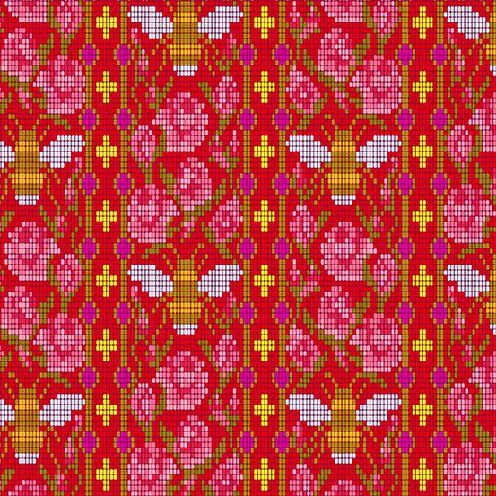Handiwork Bead Work Scarlet Alison Glass Pixels Bee Rose Floral Cotton Fabr