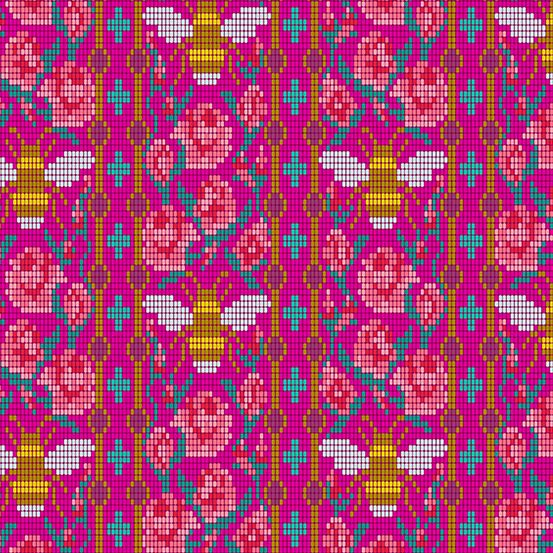 Handiwork Bead Work Dahlia Alison Glass Pixels Bee Rose Floral Cotton Fabri