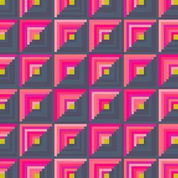 Handiwork Patchwork Sunset Pink Navy Alison Glass Log Cabin Quilt Geometric Cotton Fabric