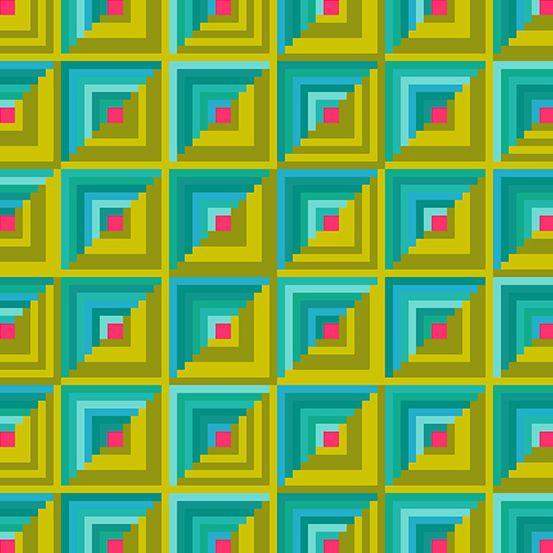 Handiwork Patchwork Ocean Green Blue Alison Glass Log Cabin Quilt Geometric