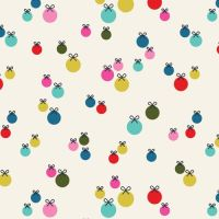 Dashwood Merry and Bright Baubles White Ornaments Christmas Decorations Holiday Winter Cotton Fabric