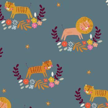 Meadow Safari Lion Tiger Dashwood Floral Spray Flower Star Nursery Cotton Fabric