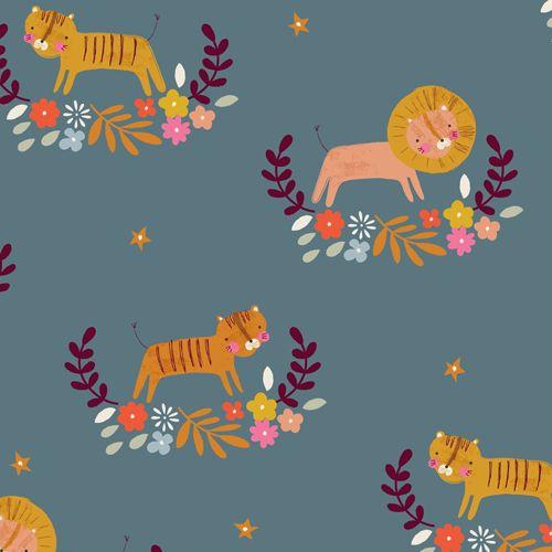 Meadow Safari Lion Tiger Dashwood Floral Spray Flower Star Nursery Cotton F