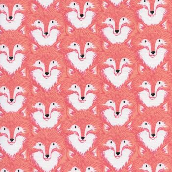 Magic Forest Foxes Coral Fox Face Cotton Fabric by Cotton + Steel designed by Sarah Watts