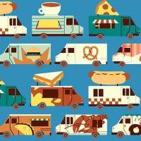Food Trucks Blue Selvedge Parallel Jeannie Phan Fast Food Hotdogs Pizza Street Food Snack Cotton Fabric