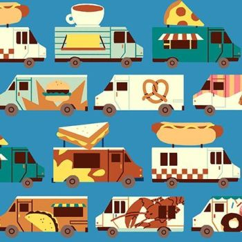 Food Trucks Blue Selvedge Parallel Jeannie Phan Fast Food Hotdogs Pizza Street Food Snack Cotton Fabric