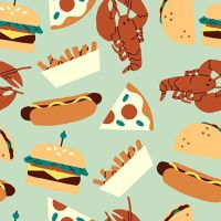 Fast Food Mint Hotdogs Pizza Burger Fries Lobster Taco Food Trucks Jeannie Phan Snack Cotton Fabric