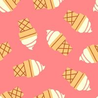 Icecream Cone Pink Icecreams Soft Serve Ice Cream Cones Food Trucks Jeannie Phan Snack Cotton Fabric