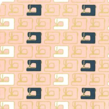 Blooms and Bobbins Sewing Machines Pink Metallic Gold Sewing Theme Cotton Fabric