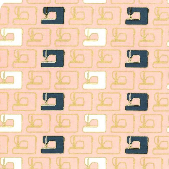 Blooms and Bobbins Sewing Machines Pink Metallic Gold Sewing Theme Cotton F