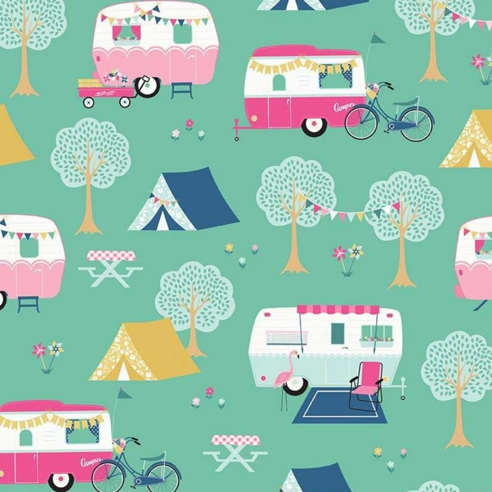 I'd Rather Be Glamping Camper Caravan Bicycle Bunting Flamingo Camping Scen
