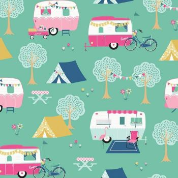 I'd Rather Be Glamping Mint Camper Caravan Bicycle Bunting Flamingo Camping Scenic Cotton Fabric
