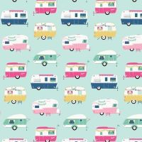 I'd Rather Be Glamping Campers Light Mint Caravan Camper Caravans Cotton Fabric