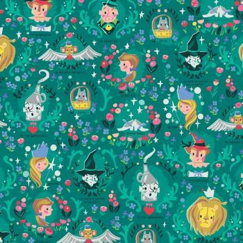 Dorothy's Journey Vignette Emerald Characters Wizard of Oz Dorothy Tin Man Cowardly Lion Scarecrow Toto Cotton Fabric