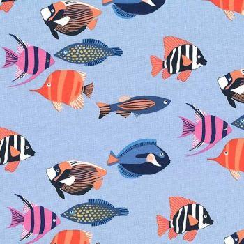 Fishtopia Blue Tropical Fish Ocean Reef Fish Aquarium Cotton Fabric