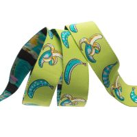 Tula Pink Monkey Wrench Don't Slip Bananas Guava Ribbon by Renaissance Ribbons per yard