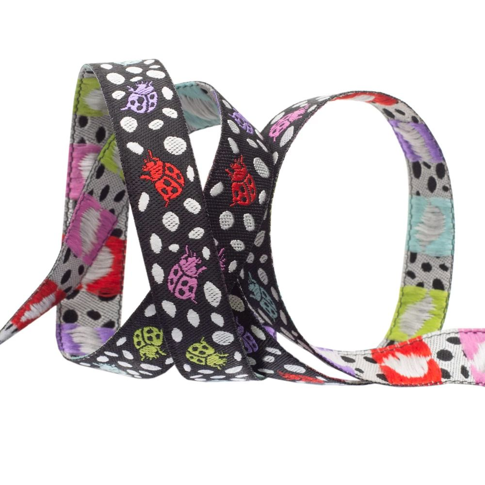 Tula Pink Monkey Wrench Spots on Spots Ladybugs Guava Black Ribbon by Renai