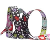 Tula Pink Monkey Wrench Spots on Spots Ladybugs Guava Black Ribbon by Renaissance Ribbons per yard