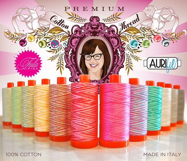 Tula Pink Premium Collection Aurifil Cotton Thread 10 Small 200m Spool Box