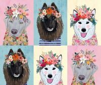 More Floral Pets Mia Charro Floral Puppies Panel Dogs Flower Crown Dog Faces Floral Cotton Fabric