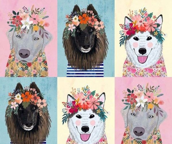 More Floral Pets Mia Charro Floral Puppies Panel Dogs Flower Crown Dog Face