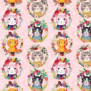 More Floral Pets Mia Charro Kitty Wreaths Flower Crown Cat Faces Floral Cotton Fabric
