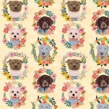 More Floral Pets Mia Charro Puppy Wreaths Flower Crown Dog Faces Floral Cotton Fabric