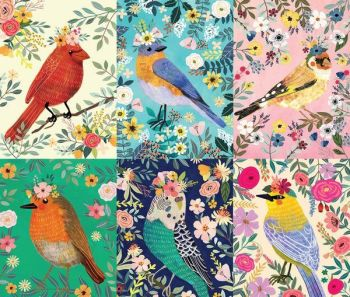 Birdie Mia Charro Panel Flower Crown Birds Budgie Robin Bird Floral Cotton Fabric
