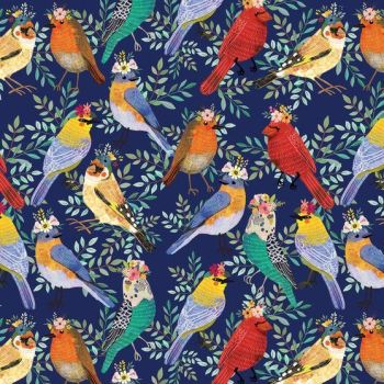 Birdie Mia Charro Bird Meet in Navy Flower Crown Robin Budgie Floral Cotton Fabric