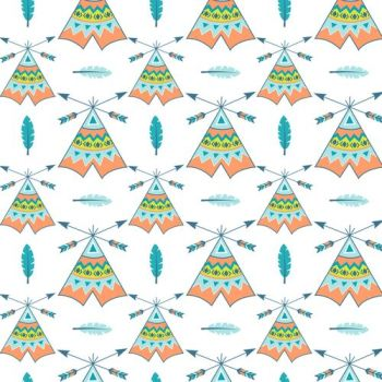 DESTASH 4.42m Length Boho Baby Tee Pees Arrows Tipi Tent Teepee Feathers Blue Feather Cotton Fabric